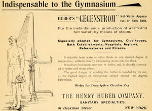 1895 Ad Henry Huber Company Gegenstrom Hot Water Shower - ORIGINAL TFO1