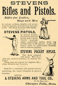 1891 Ad Stevens Pocket Rifles Pistols Shooting Hunting - ORIGINAL TFO1