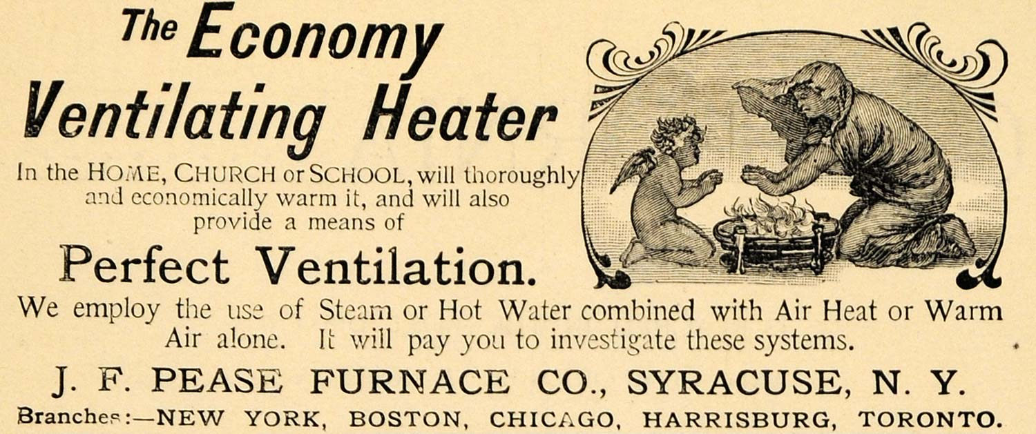 1891 Ad J. F. Pease Furnace Economy Ventilating Heater - ORIGINAL TFO1
