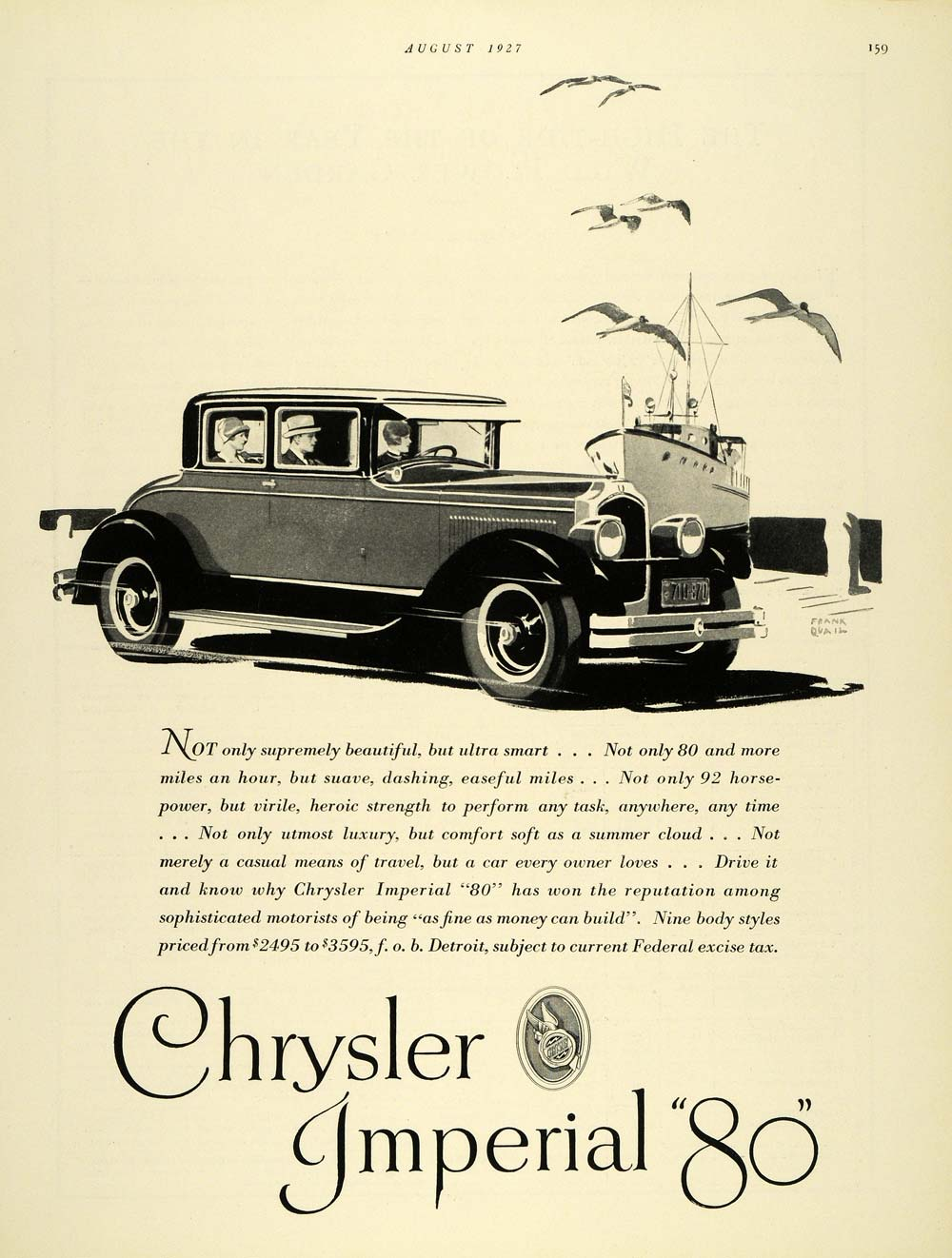 1927 Ad Chrysler Imperial 80 Antique Frank Quail Ship - ORIGINAL THB1