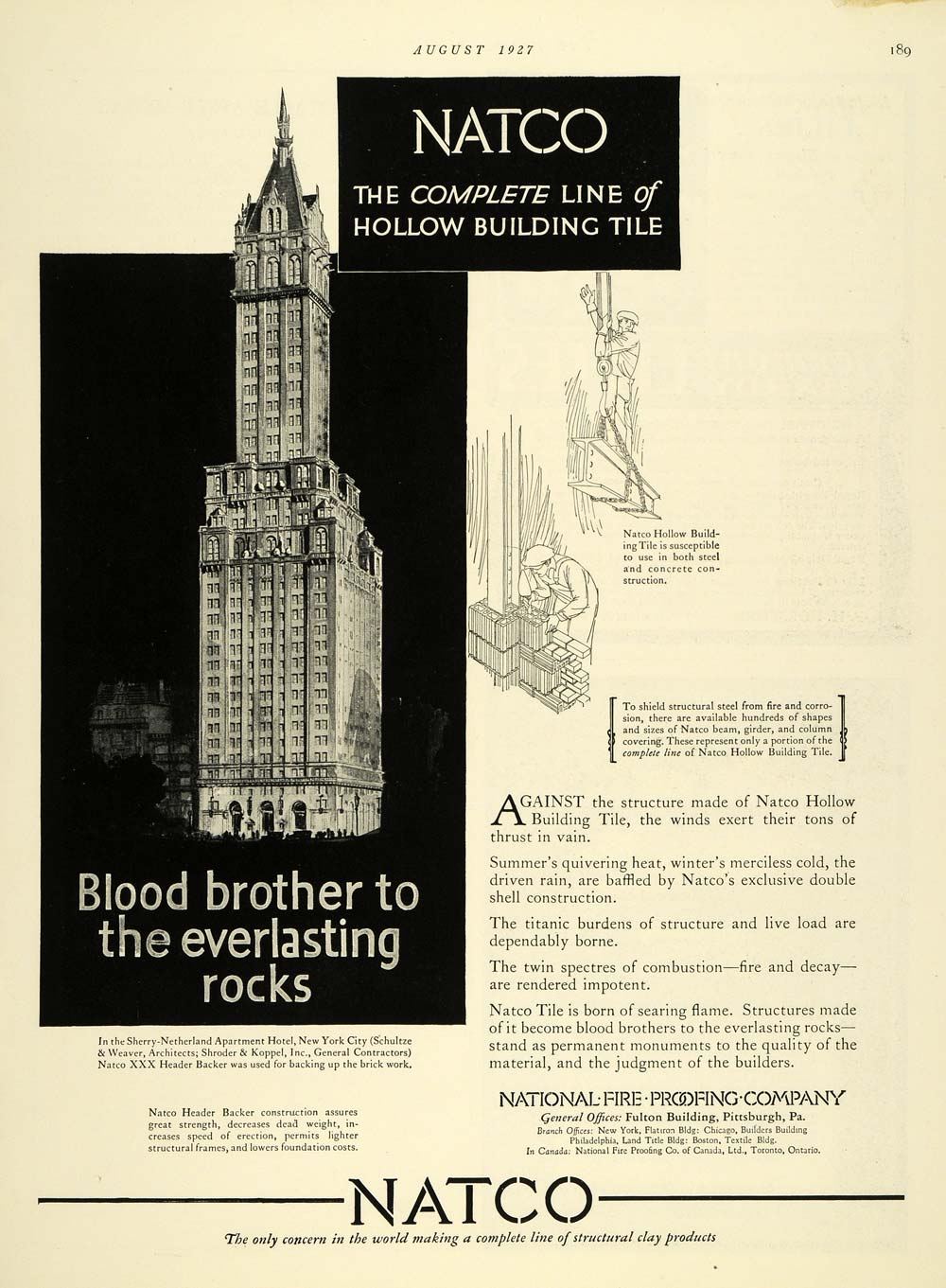 1927 Ad Natco National Fire Proofing Sherry Netherland - ORIGINAL THB1