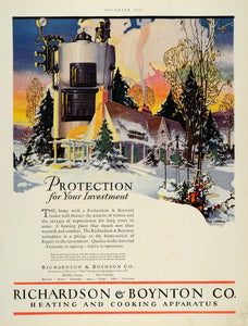 1927 Ad Richardson Boynton Boiler Heating Home Appliance Winter L V Carroll THB1 - Period Paper