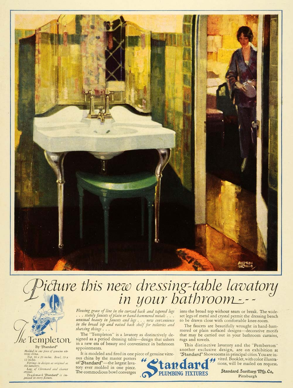 1927 Ad Andrew Loomis Standard Templeton Bathroom Decor - ORIGINAL THB1