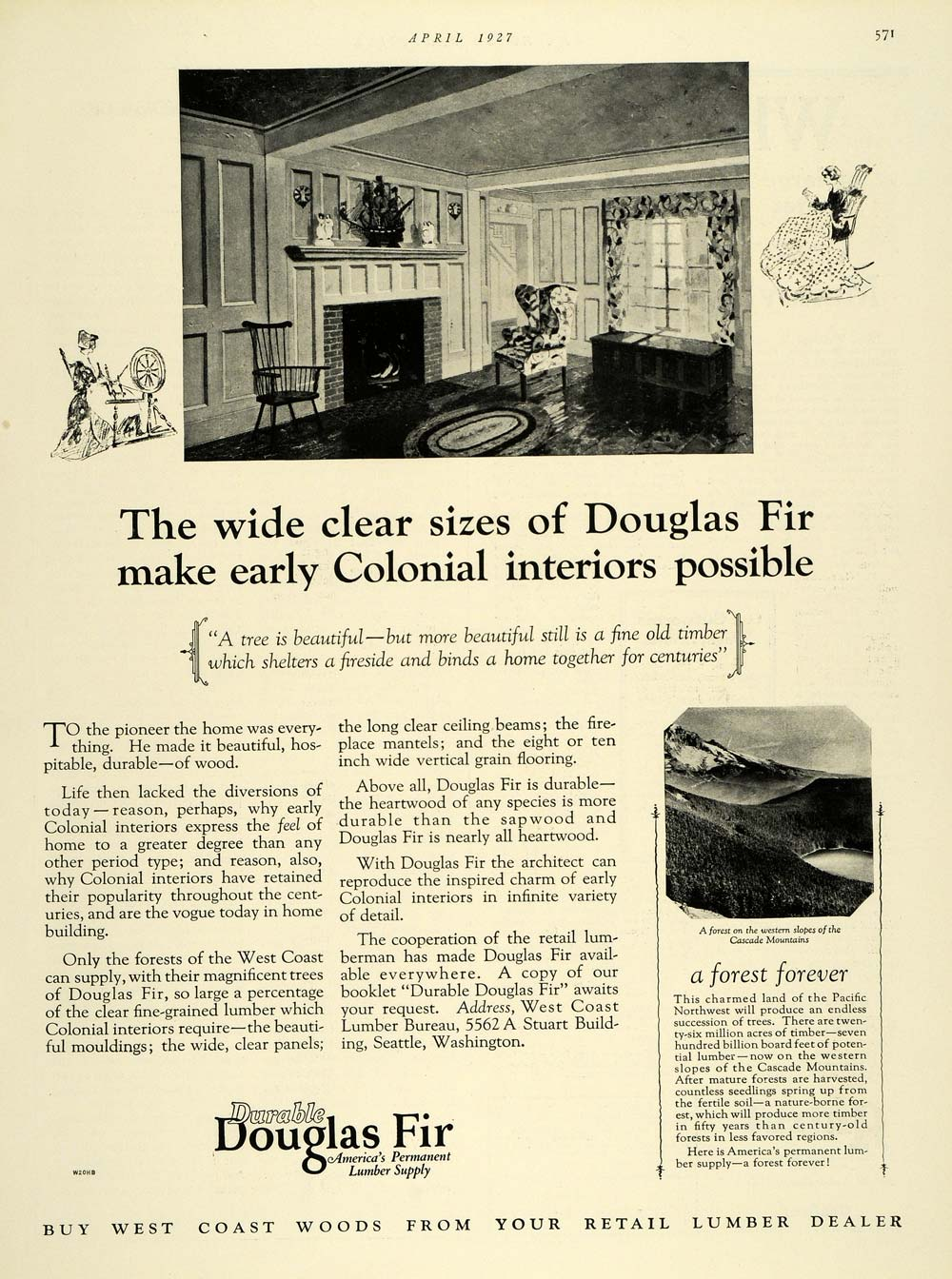 Décoration De Bureau Originale 1927 ad douglas fir lumber colonial interior decoration - original thb1