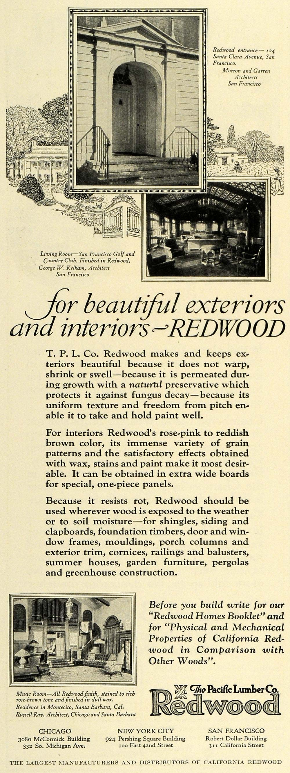 1925 Ad Pacific Lumber Redwood San Fran Country Club - ORIGINAL ADVERTISING THB1