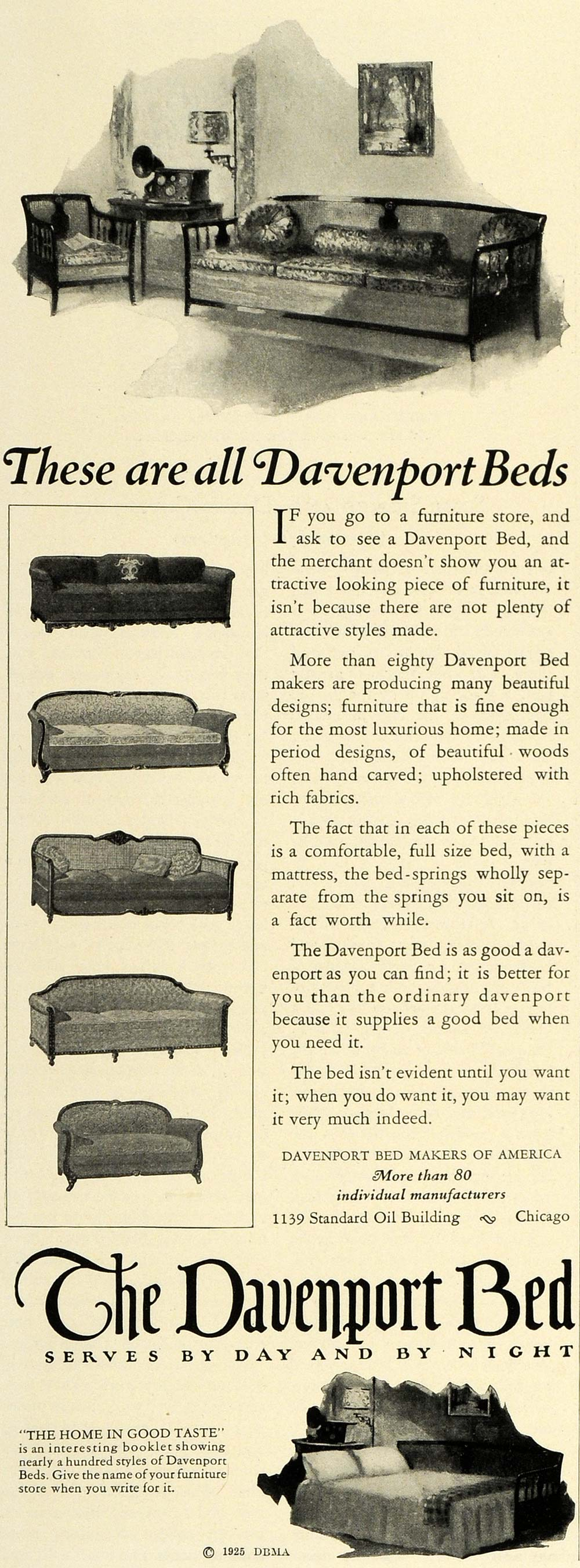 1925 Ad Transforming Furniture Davenport Bed Chicago - ORIGINAL ADVERTISING THB1