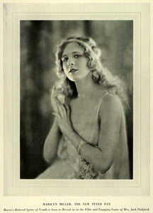 1924 Print Portrait Marilyn Miller Peter Pan Jack Pickford Broadway Musical THM