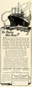 1924 Ad United States Lines Cruise Liner Ship Vacation Paris France European THM