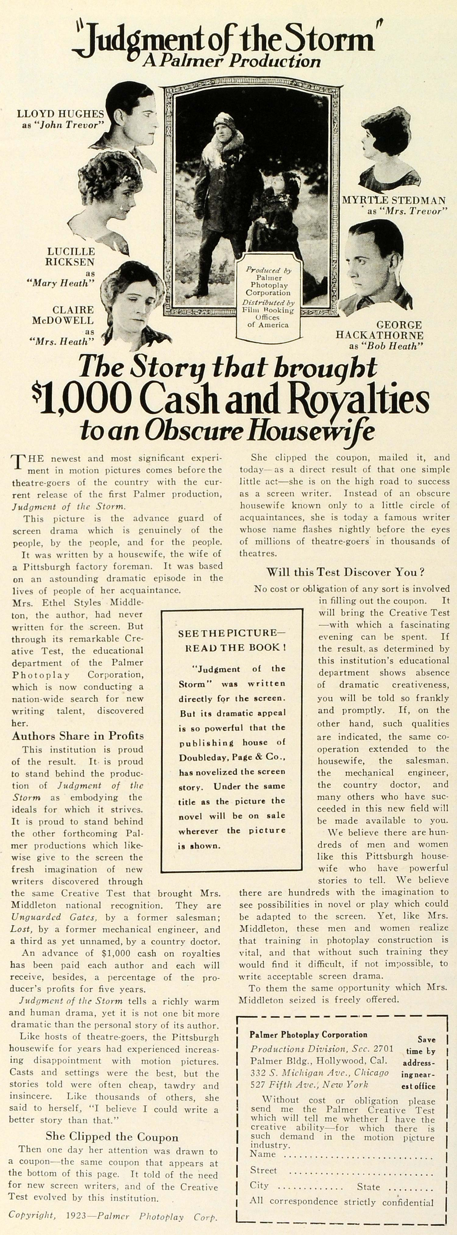 1924 Ad Palmer Photoplay Screenwriters Royalties Housewife Job Judgment THM