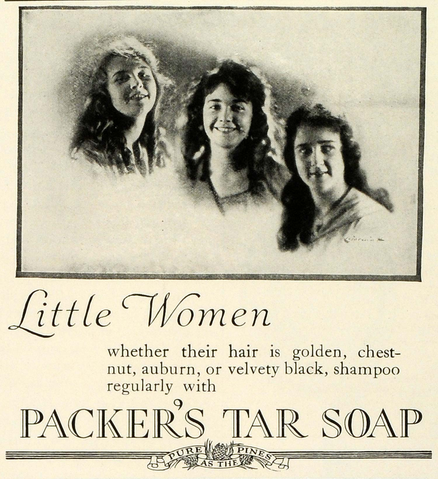 1924 Ad Packers Tar Soap Shampoo Hair Care Beauty Products Little Women THM
