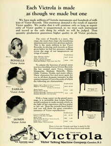 1924 Ad Victor Victrola Phonograph Models Nipper Musicians Ponselle Farrar THM