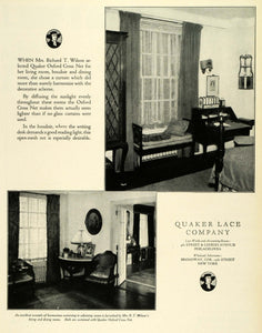 1924 Ad Quaker Lace Oxford Cross Net Draperies Home Decor Mrs. Richard T THM