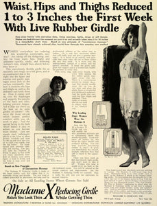 1924 Ad Madame X Reducing Rubber Girdle Celebrity Stage Film Actress Helen THM