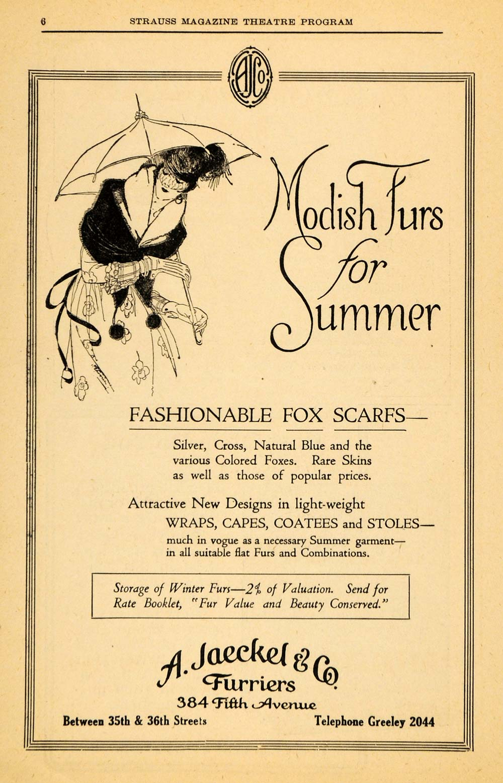 1918 Ad A Jaeckel Furriers Fur Cape Wrap Clothing Stole - ORIGINAL THR1