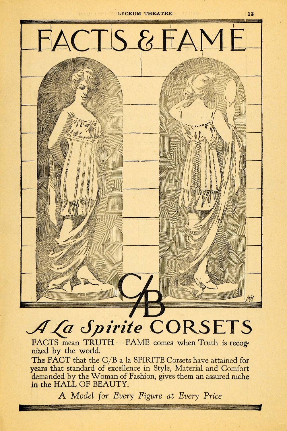 1917 Ad A La Spirite Corset Beauty Fashion Garment Art - ORIGINAL THR1