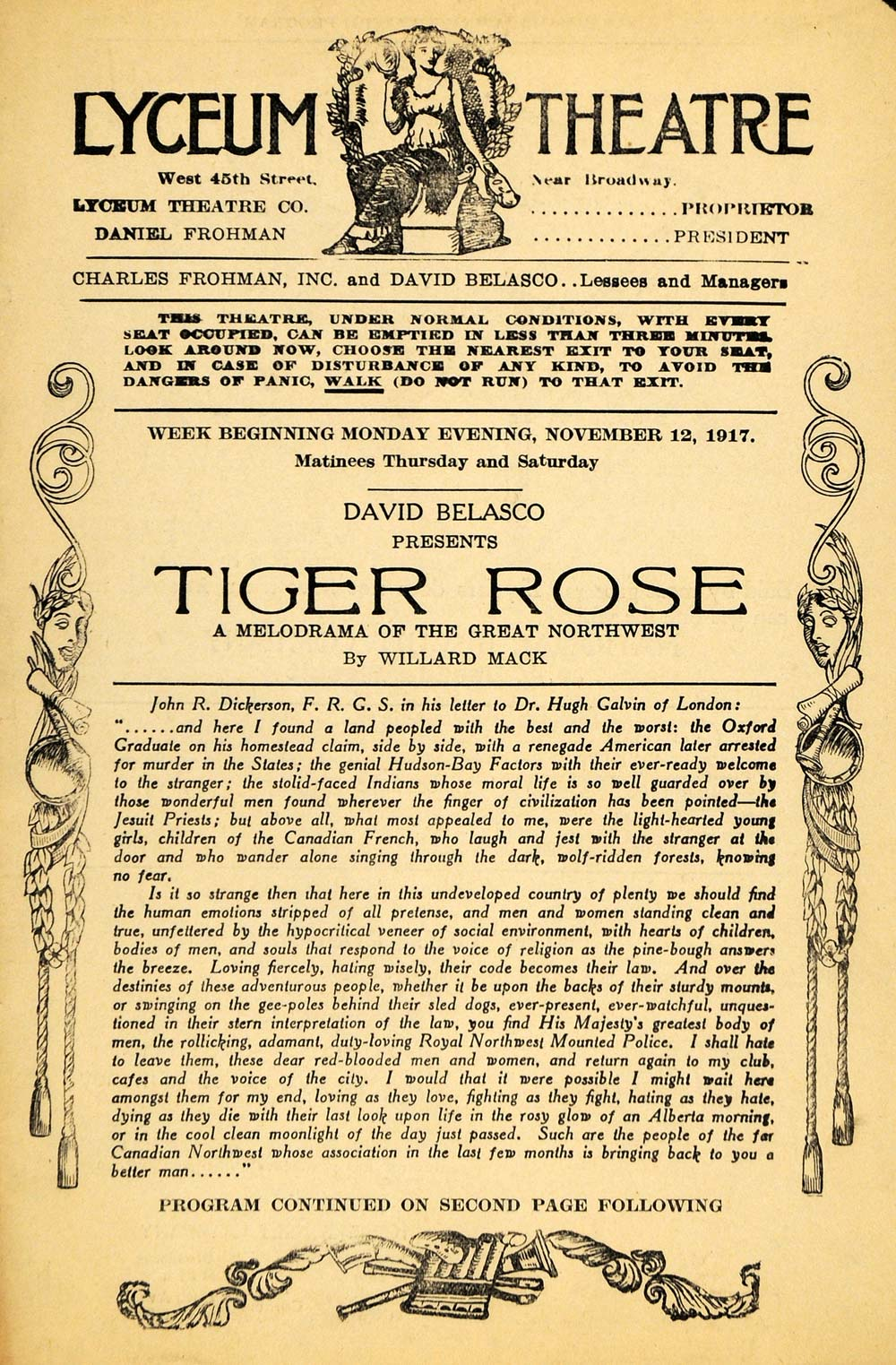 1917 Ad Tiger Rose David Belasco John Dickerson Calvin - ORIGINAL THR1