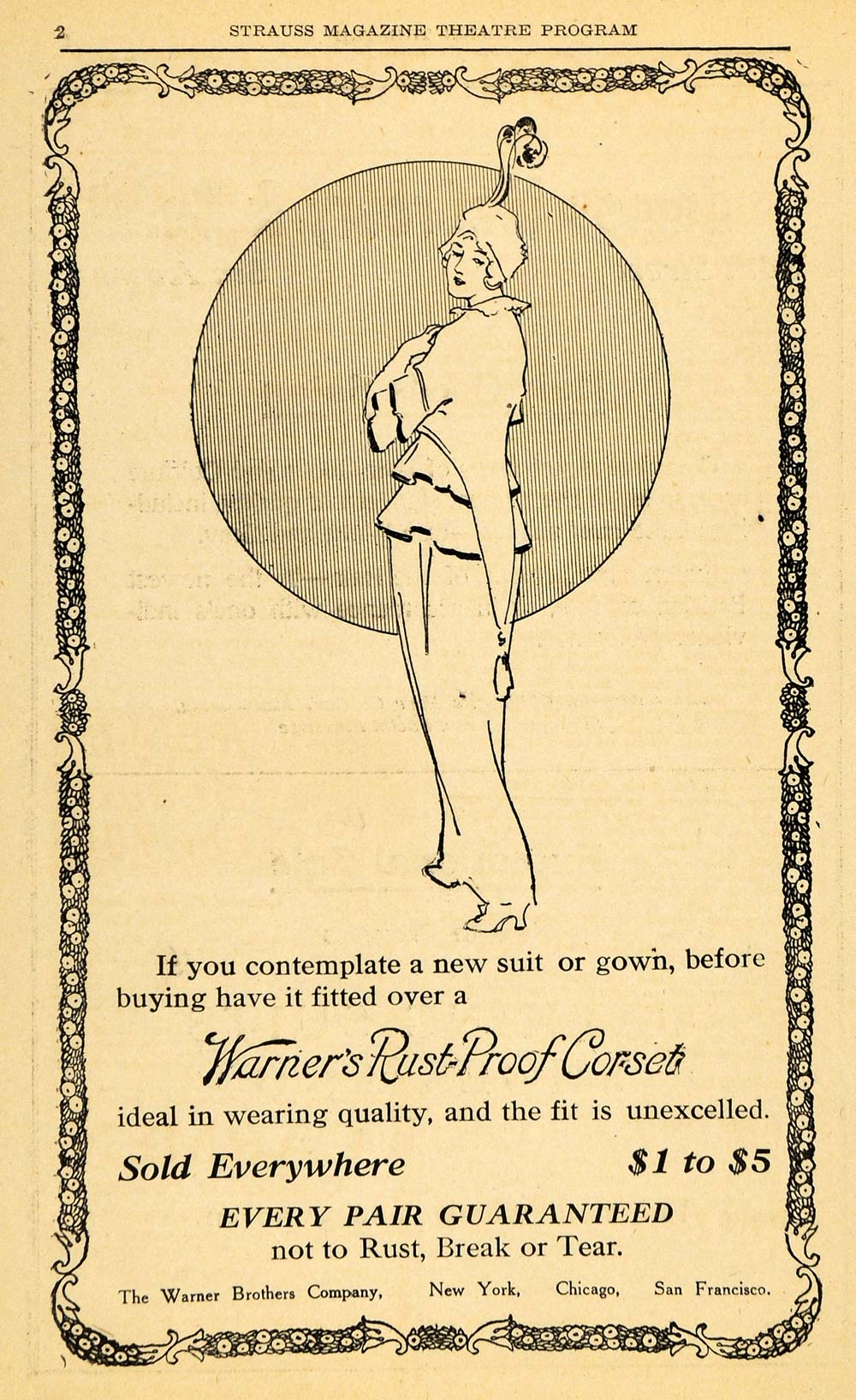 1914 Ad Warner's Rust-Proof Corset Suit Gown Fashion - ORIGINAL ADVERTISING THR1