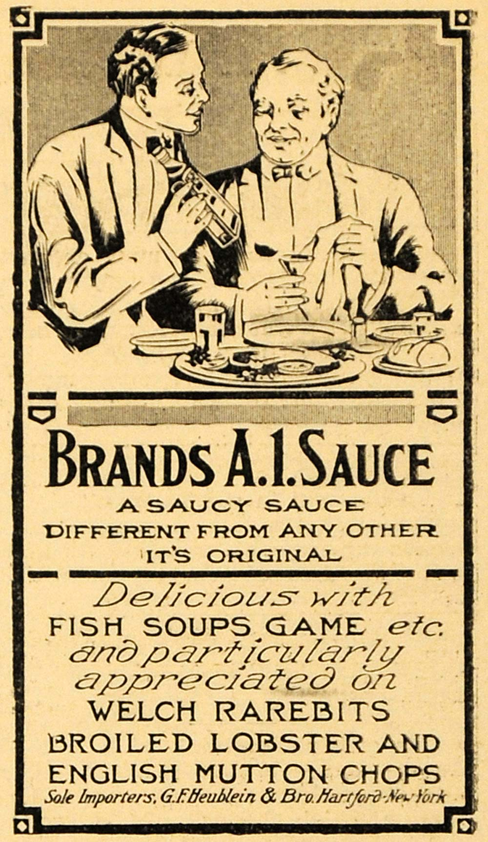 1912 Ad G. F. Heublein Brand's A. 1. Food Meat Sauce - ORIGINAL ADVERTISING THR1