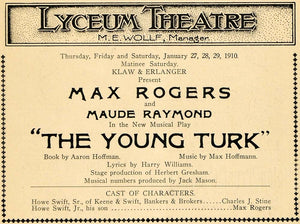 1910 Ad Young Turk Max Rogers Maude Raymond Hoffman - ORIGINAL ADVERTISING THR1