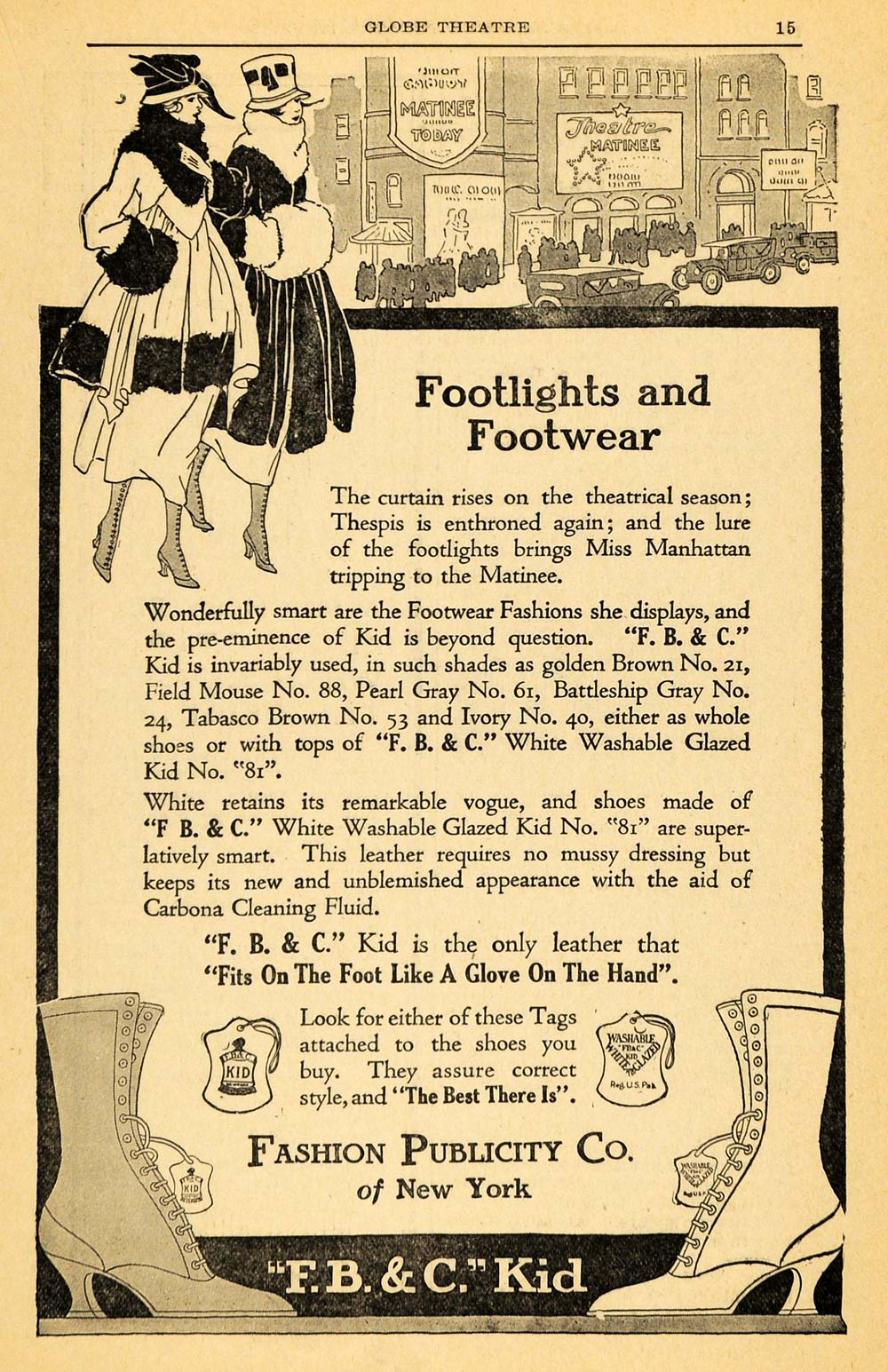 1917 Ad Fashion Publicity FBC Kid Footwear Leather Shoe - ORIGINAL THR1