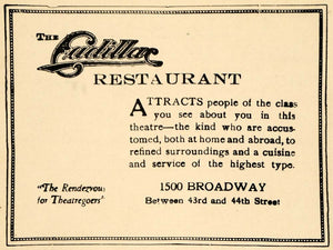 1923 Ad Cadillac Restaurant Theatre Cuisine Food Car - ORIGINAL ADVERTISING THR1