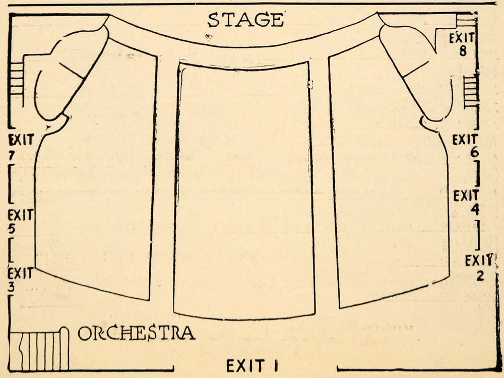 1923 Print Hudson Theatre Seating Stage Play Orchestra ORIGINAL HISTORIC THR1