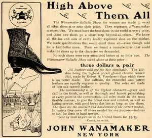 1900 Ad John Wanamaker's Store Reliable Shoes Women - ORIGINAL ADVERTISING TIN1