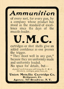 1900 Ad Union Metallic Cartridges U.M.C. Gun Ammunition - ORIGINAL TIN1