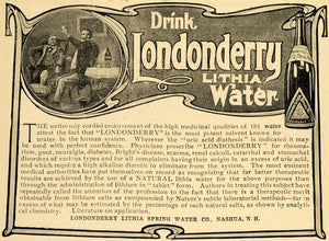 1903 Ad Londonderry Lithia Spring Drinking Water Health - ORIGINAL TIN1