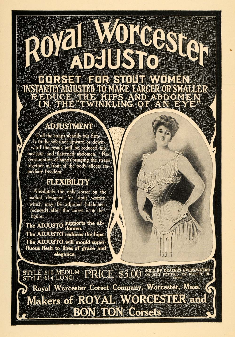 1907 Ad Royal Worcester Corset Ad-Justo For Stout Women - ORIGINAL TIN1