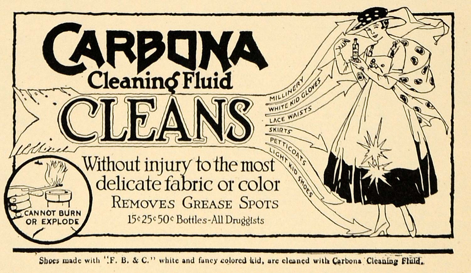 1917 Ad Carbona Cleaning Fabric Fluid Removes Grease - ORIGINAL ADVERTISING TIN2