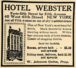1917 Ad Hotel Webster W. Johnson Quinn Room Rates NY - ORIGINAL ADVERTISING TIN2