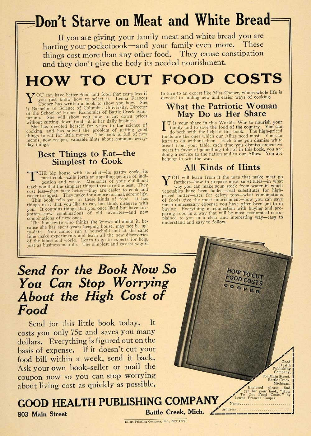 1917 Ad How To Cut Food Costs WWI Good Health Publishng - ORIGINAL TIN2