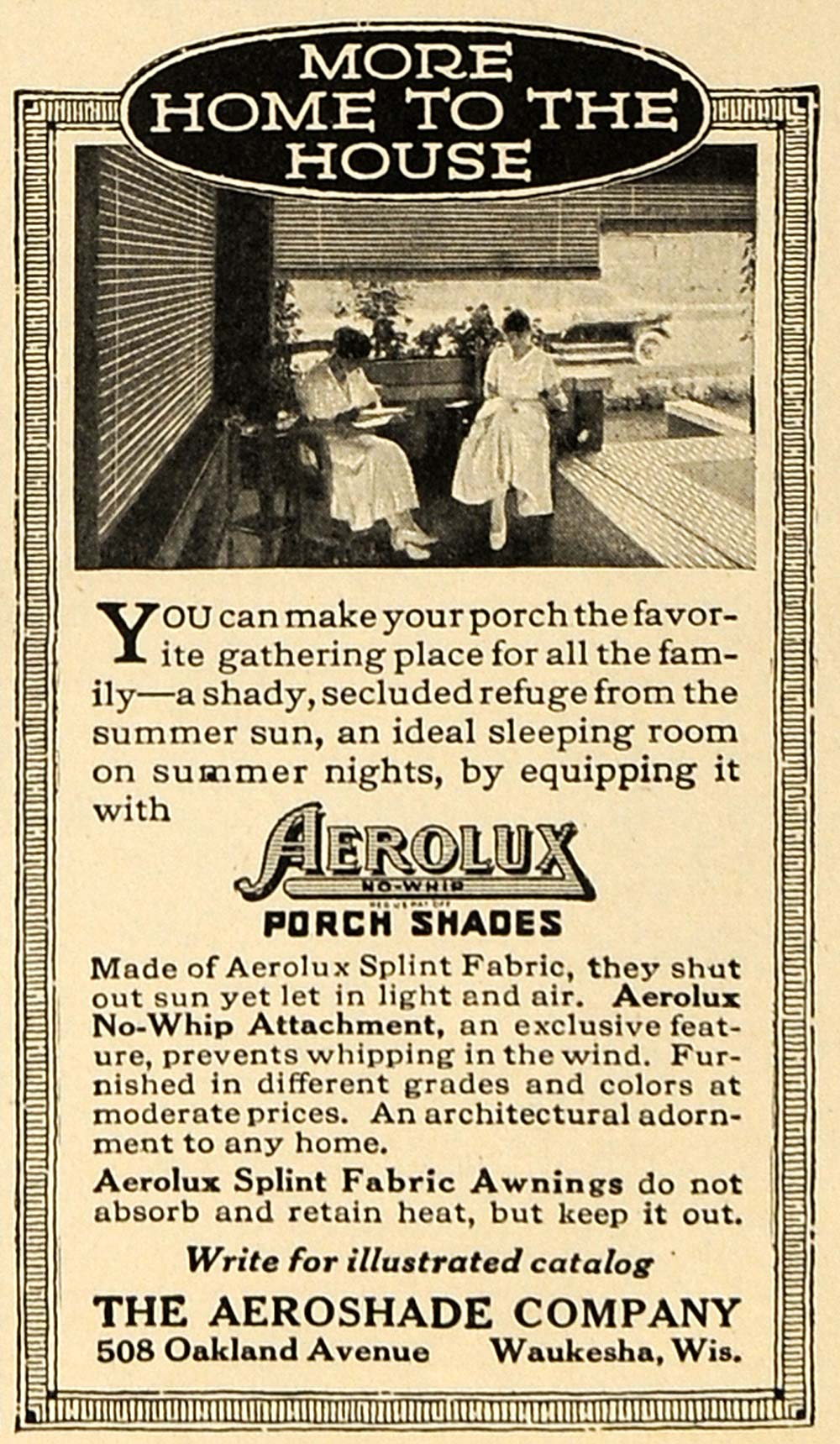 1916 Ad Aeroshade Waukesha Porch Shade Home Fabric - ORIGINAL ADVERTISING TIN2