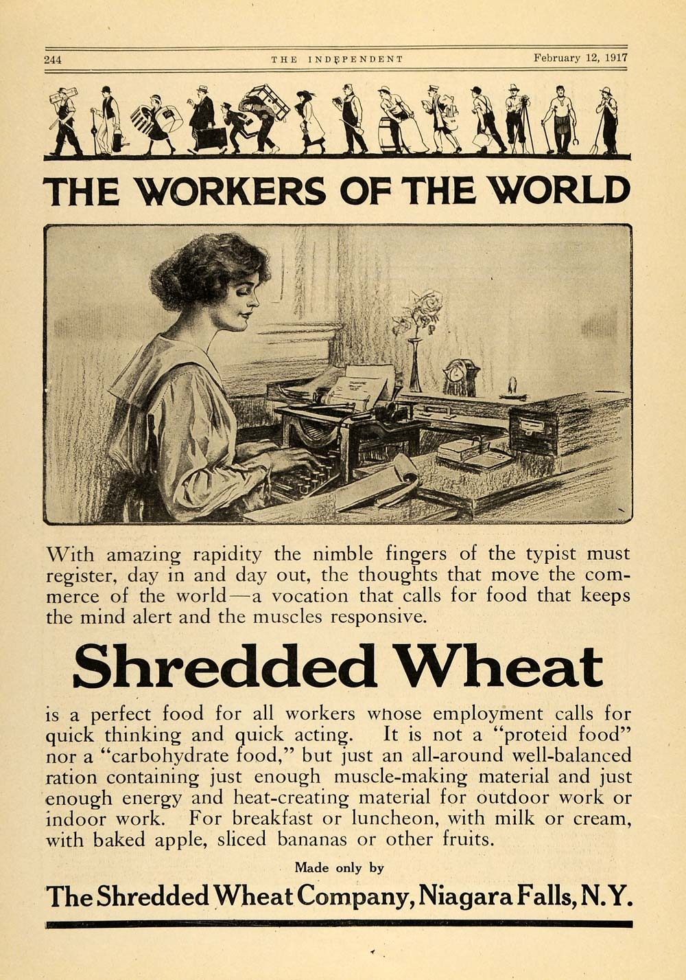1917 Ad Workers of the World Shredded Wheat Typist Lady - ORIGINAL TIN2