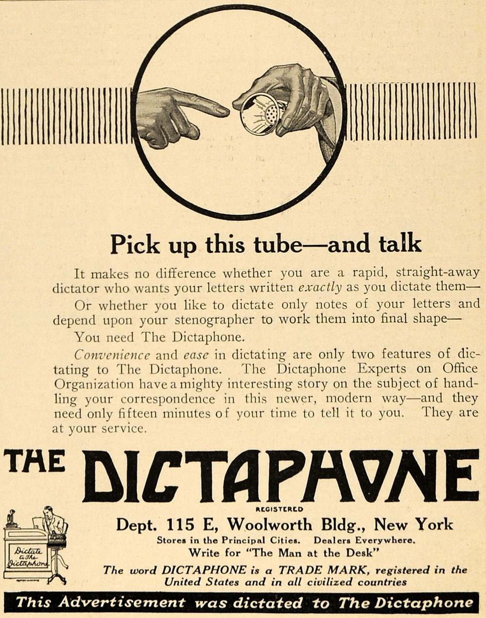 1917 Ad Dictaphone Record Device Columbia Graphophone - ORIGINAL TIN2