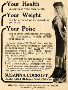 1916 Ad Susanna Cocroft Health Engineer Weight Poise - ORIGINAL ADVERTISING TIN2