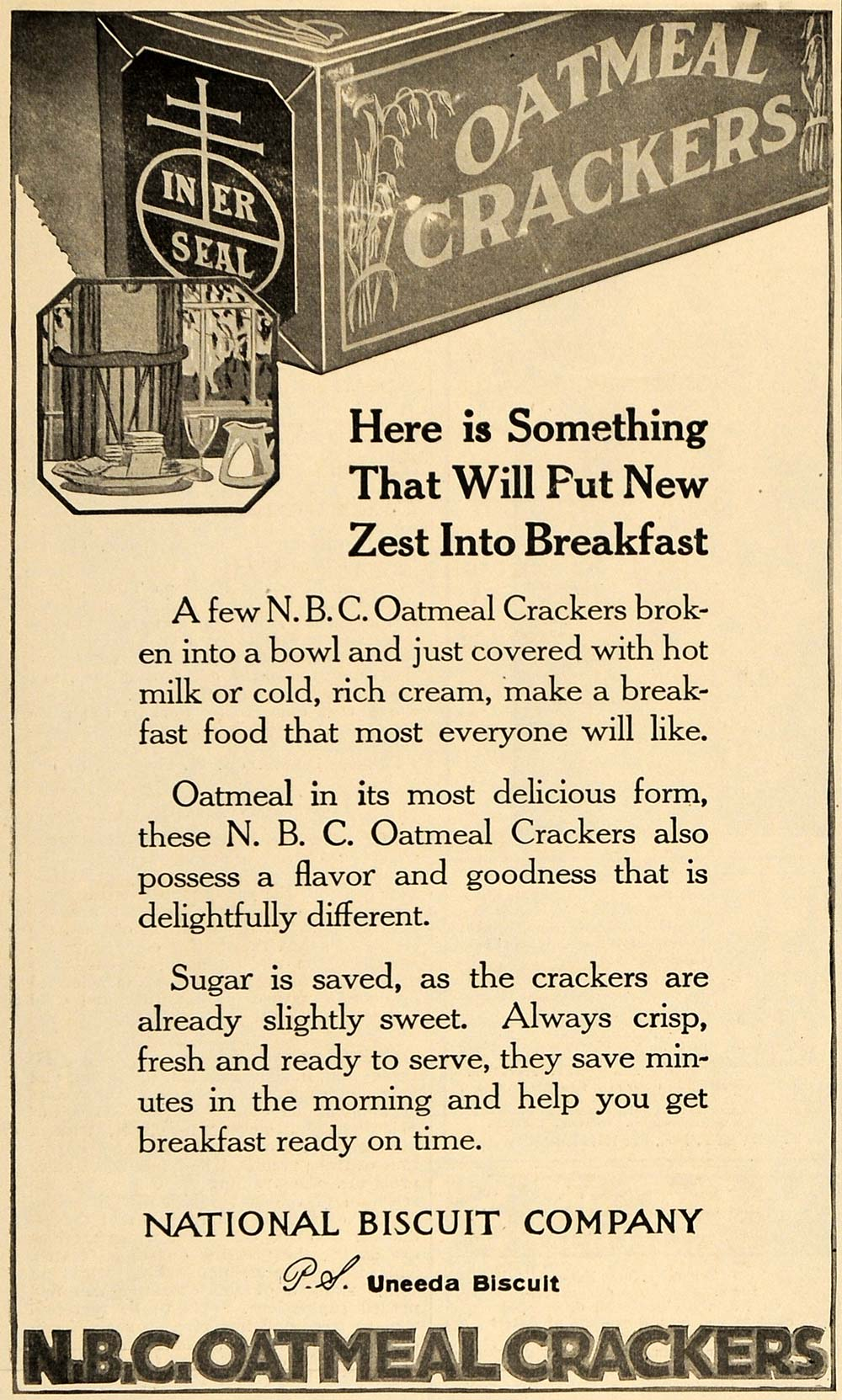 1918 Ad N B C Oatmeal Crackers National Biscuit Company - ORIGINAL TIN2