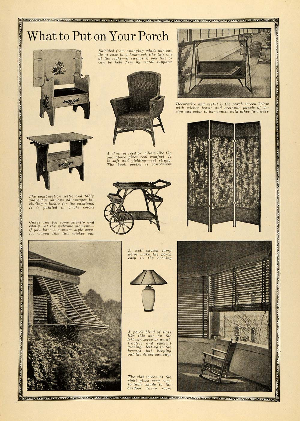 1918 Article Porch Furniture Chair Room Divide Decorate - ORIGINAL TIN2
