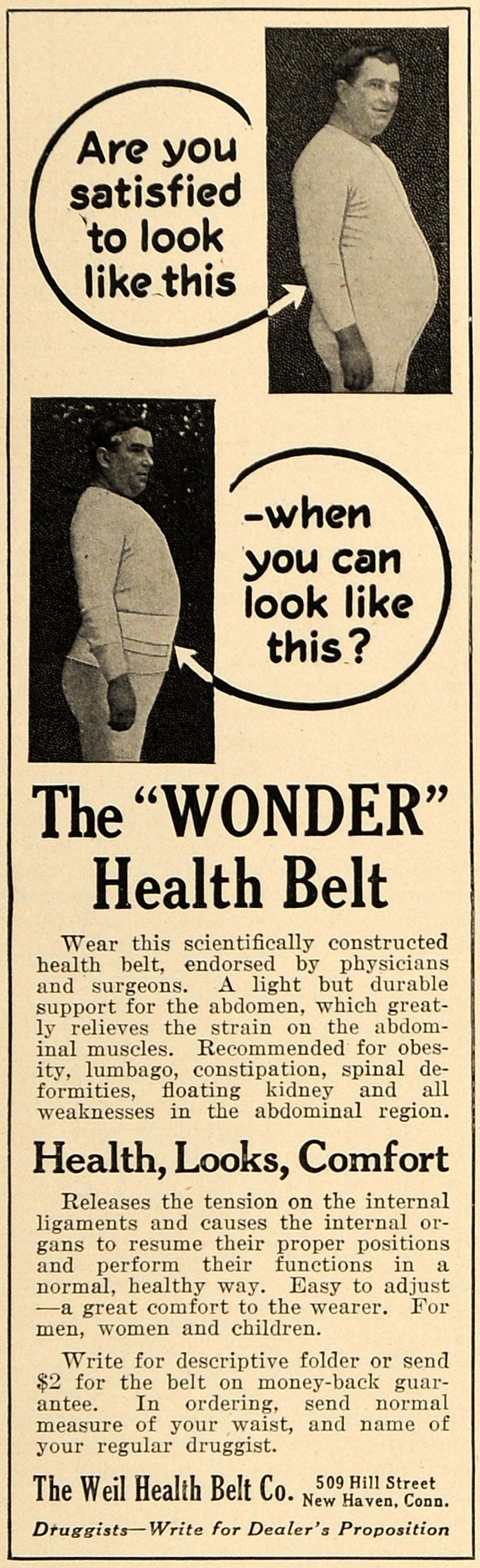 1916 Ad Weil Health Belt Company Floating Kidney Health - ORIGINAL TIN2