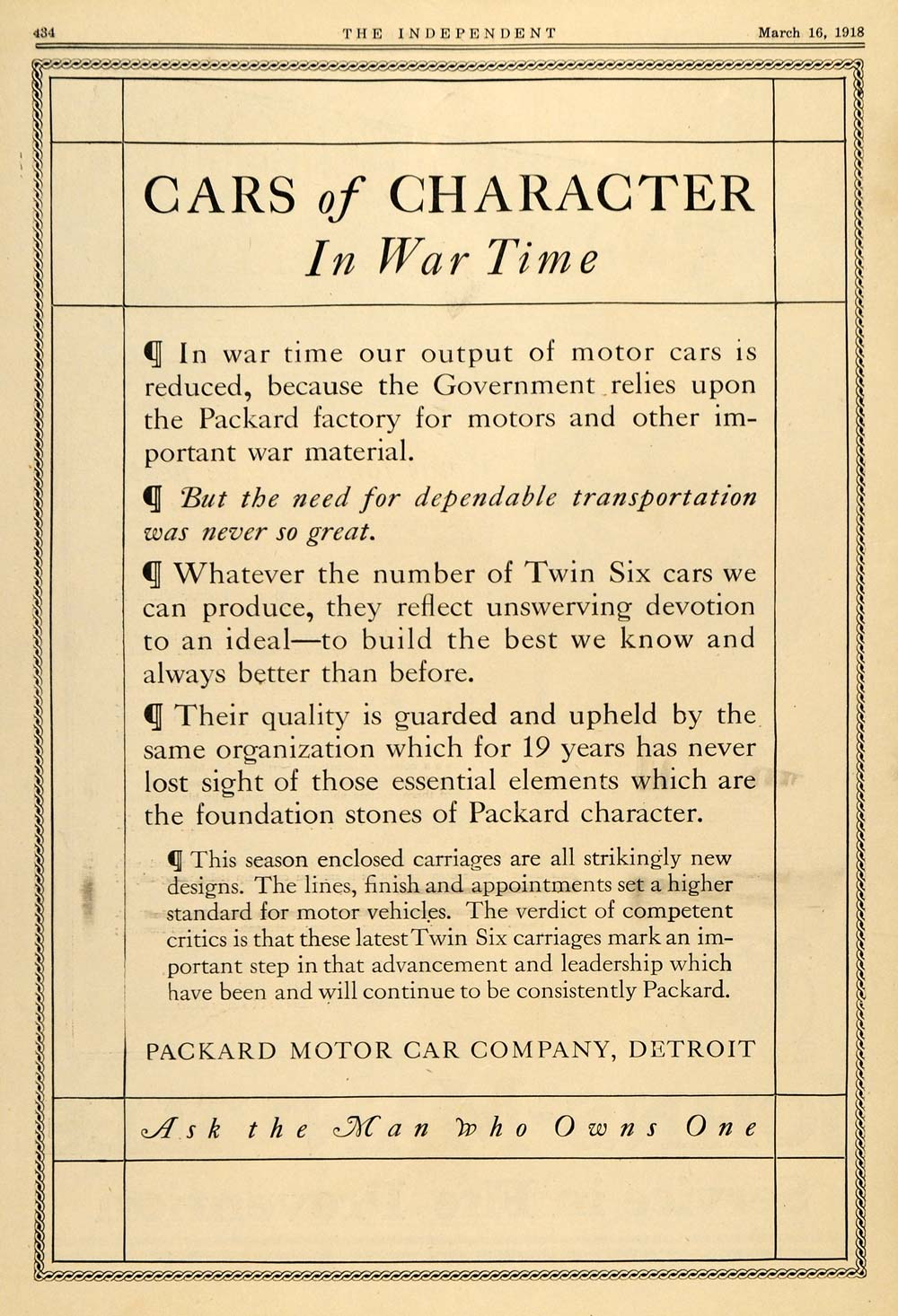 1918 Ad Packard Twin 6 Cars of Character War Time WWI - ORIGINAL TIN3