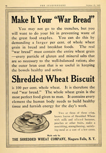 1917 Ad Shredded Wheat Biscuit War Bread WWI Cereal - ORIGINAL ADVERTISING TIN3