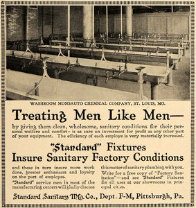 1917 Ad Washroom Monsauto Factory Standard Sanitary - ORIGINAL ADVERTISING TIN3