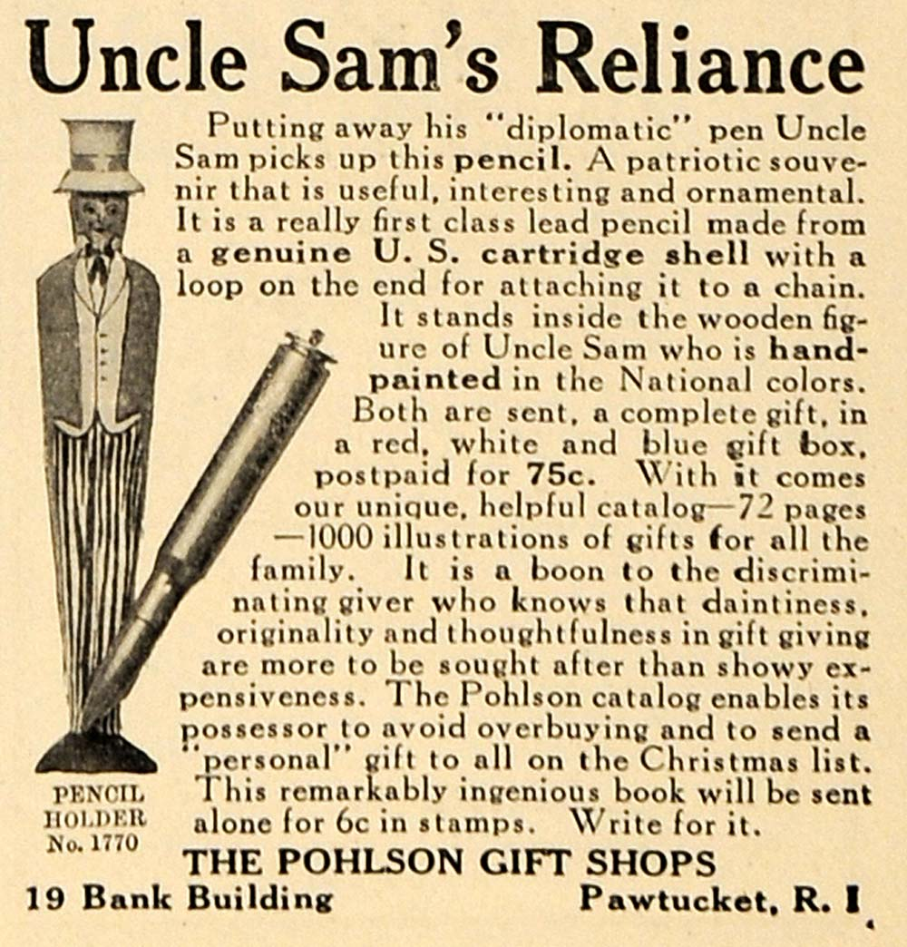 1917 Ad Uncle Sam Diplomatic Pencil Holder Pohlson WWI - ORIGINAL TIN3