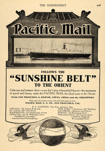 1907 Ad Pacific Mail Sunshine Belt Orient Cruise Ship - ORIGINAL TIN4