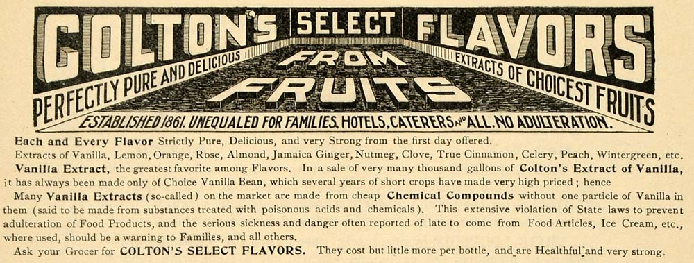 1899 Ad Colton Flavored Fruit Vanilla Clove Extracts - ORIGINAL ADVERTISING TIN4