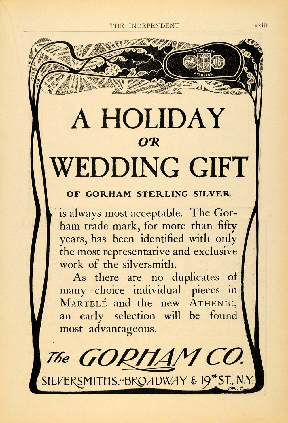 1901 Ad Holiday Wedding Gift Gorham Silver Smith Metal - ORIGINAL TIN4