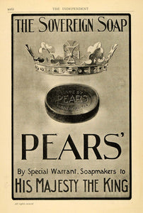 1902 Ad Pears Soap Royalty Crown King Majesty Hygiene - ORIGINAL TIN4