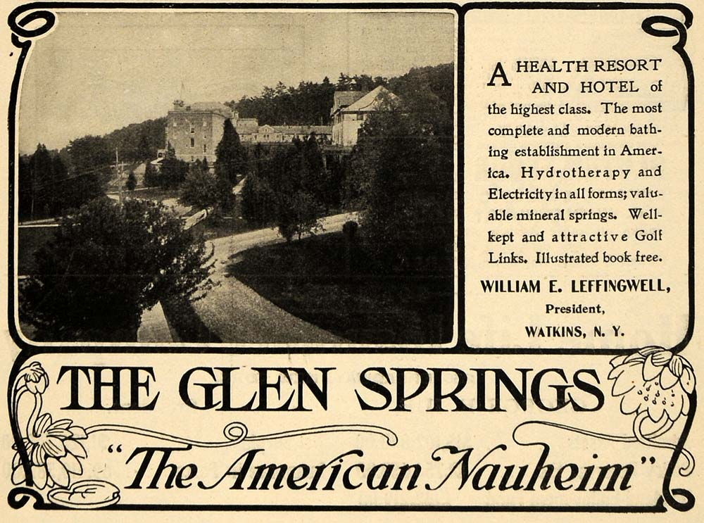 1904 Ad Glen Springs Health Resort Hotel Leffingwell - ORIGINAL ADVERTISING TIN4