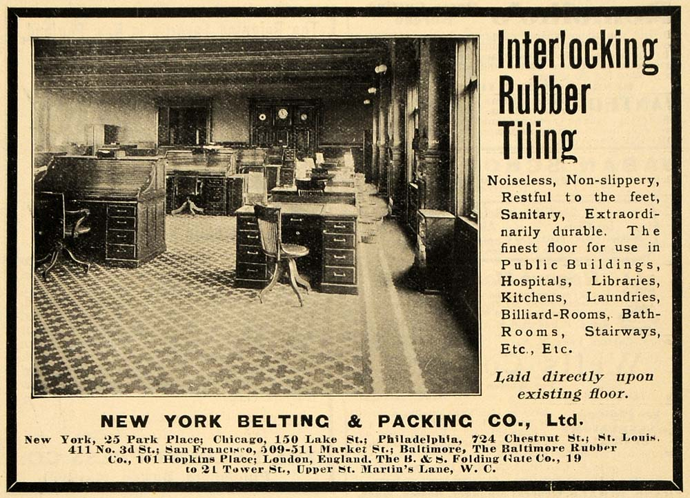 1903 Ad Rubber Tiling New York Belting Packing Office - ORIGINAL TIN4